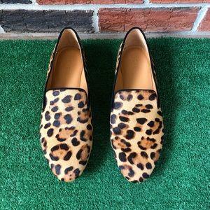 J. Crew Leopard Calf Hair Smoking Loafers